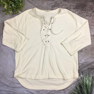 Madewell Bright Ivory Libra Lace Up Tee